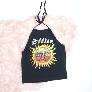 FOREVER 21 SUBLIME GRAPHIC BLACK HALTER TANK TOP